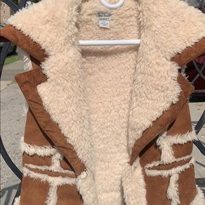 cognac suede color and Sherpa vest